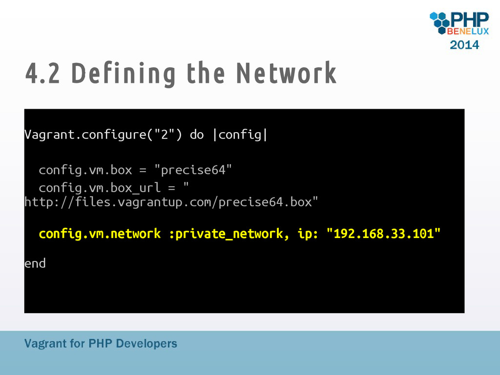 "4.2 Defining the Network Vagrant.configure(""2"")..."