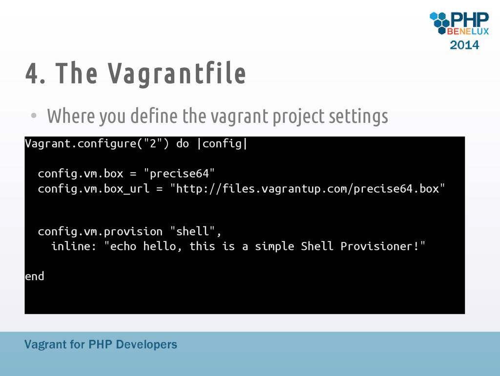4. The Vagrantfile ● Where you define the vagra...
