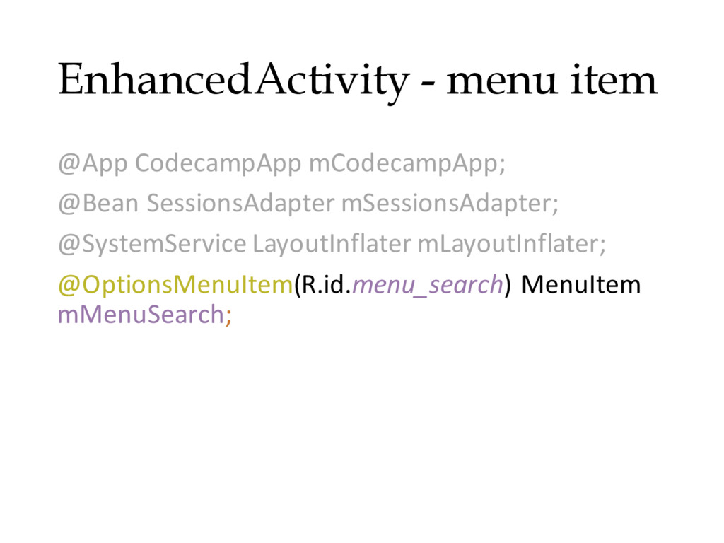 EnhancedActivity - menu item @App CodecampApp m...