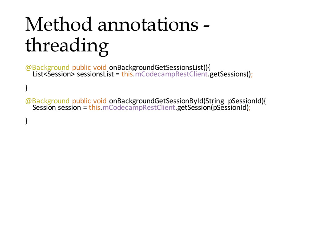Method annotations - threading @Background publ...