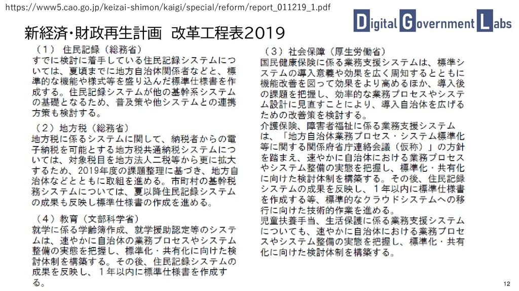 12 新経済・財政再生計画 改革工程表2019 https://www5.cao.go.jp/...