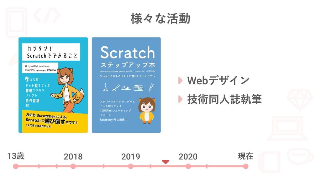 様々な活動 13歳 2018 2019 2020 現在 Webデザイン 技術同人誌執筆