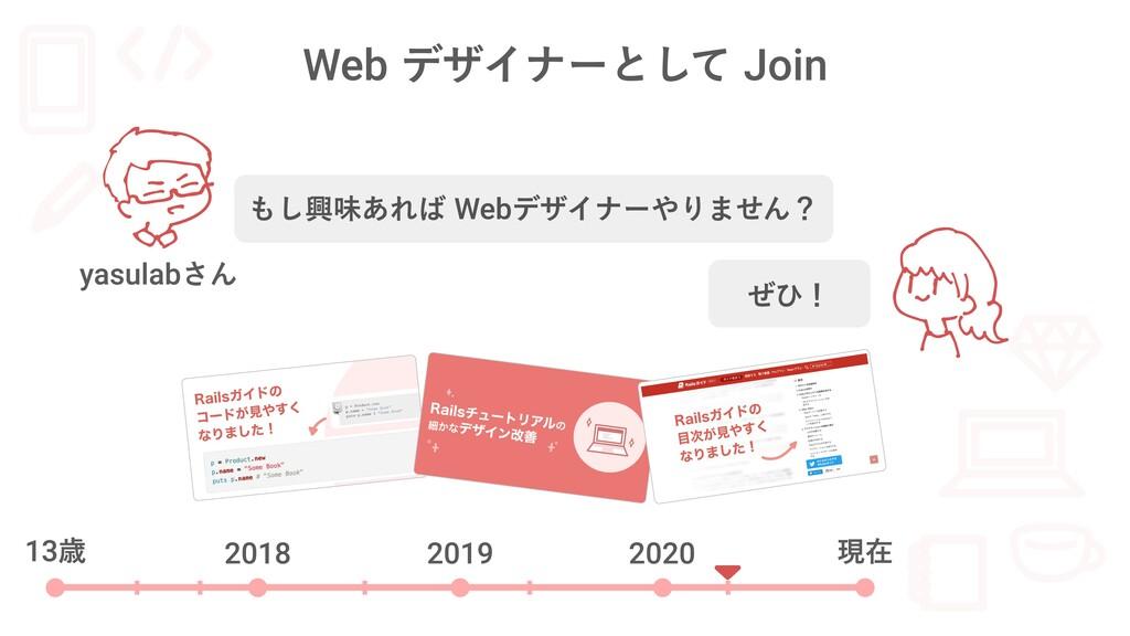 Web デザイナーとして Join 13歳 2018 2019 2020 現在 もし興味あれば...
