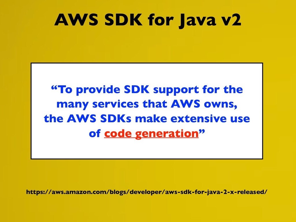 "AWS SDK for Java v2 ""To provide SDK support for..."