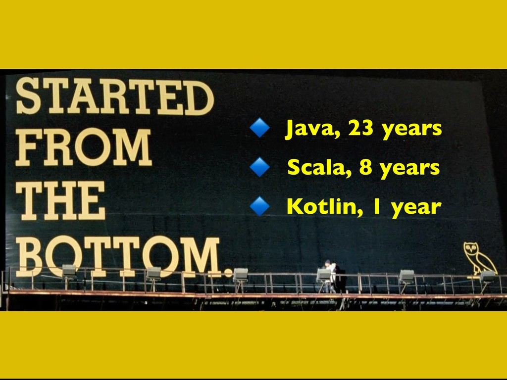 Java, 23 years Scala, 8 years Kotlin, 1 year