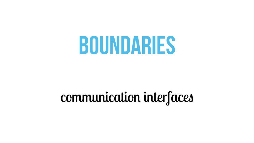 communication interfaces BOUNDARIES