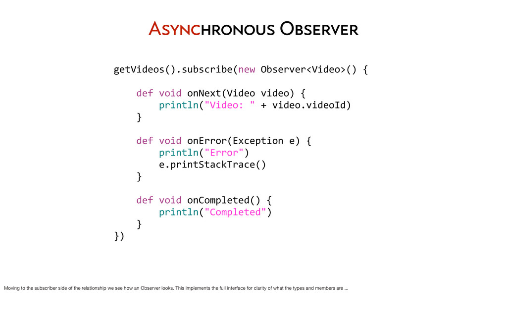 Asynchronous Observer getVideos().subscribe(new...