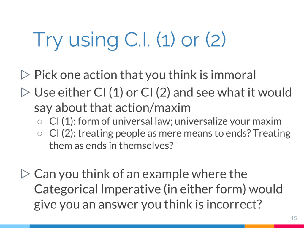 ▷ Pick one action that you think is immoral ▷ U...