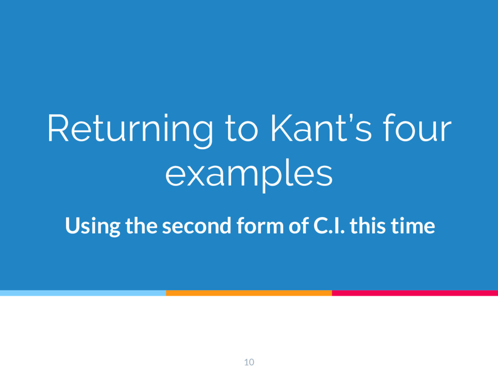 Returning to Kant's four examples Using the sec...