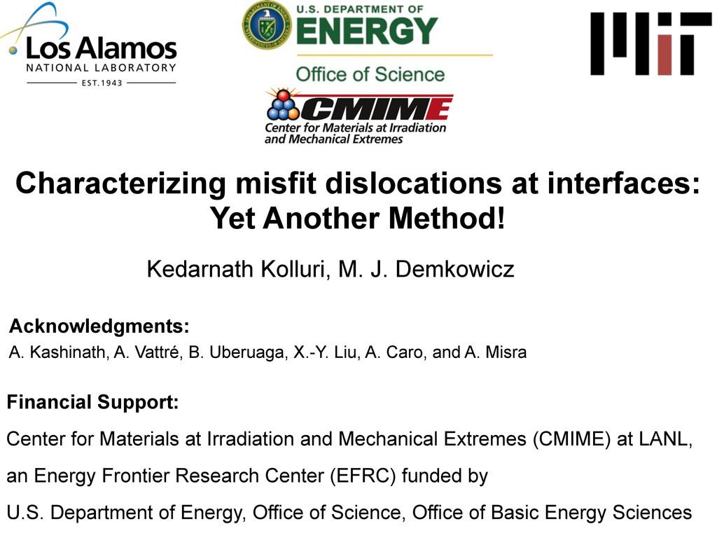Characterizing misfit dislocations at interface...