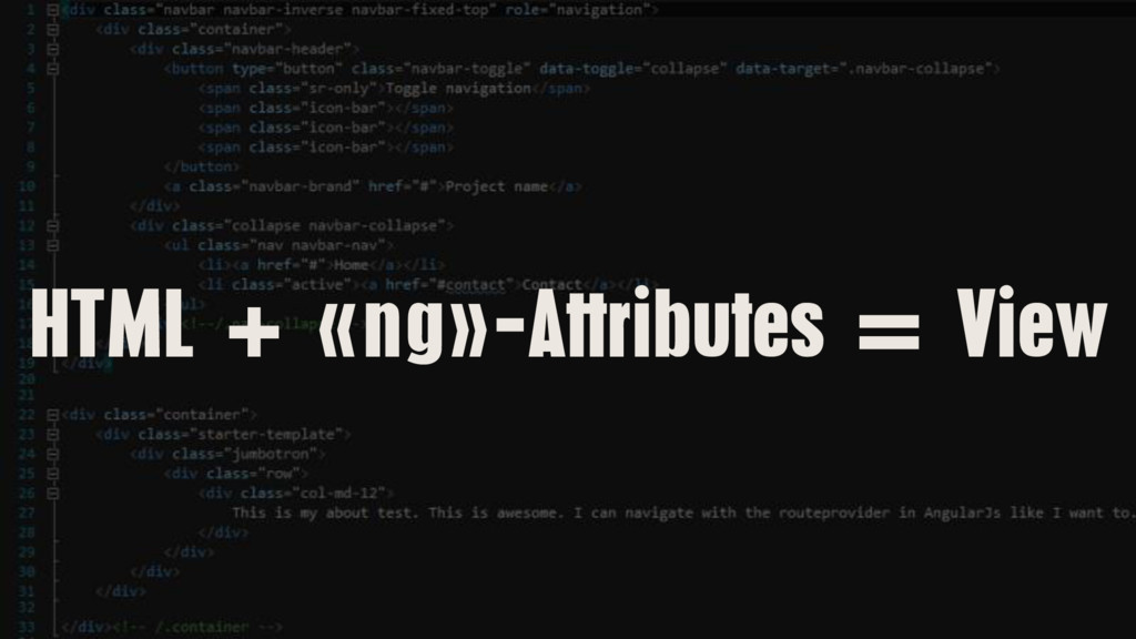 HTML + «ng»-Attributes = View