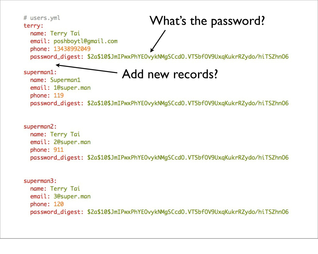 What's the password? Add new records?