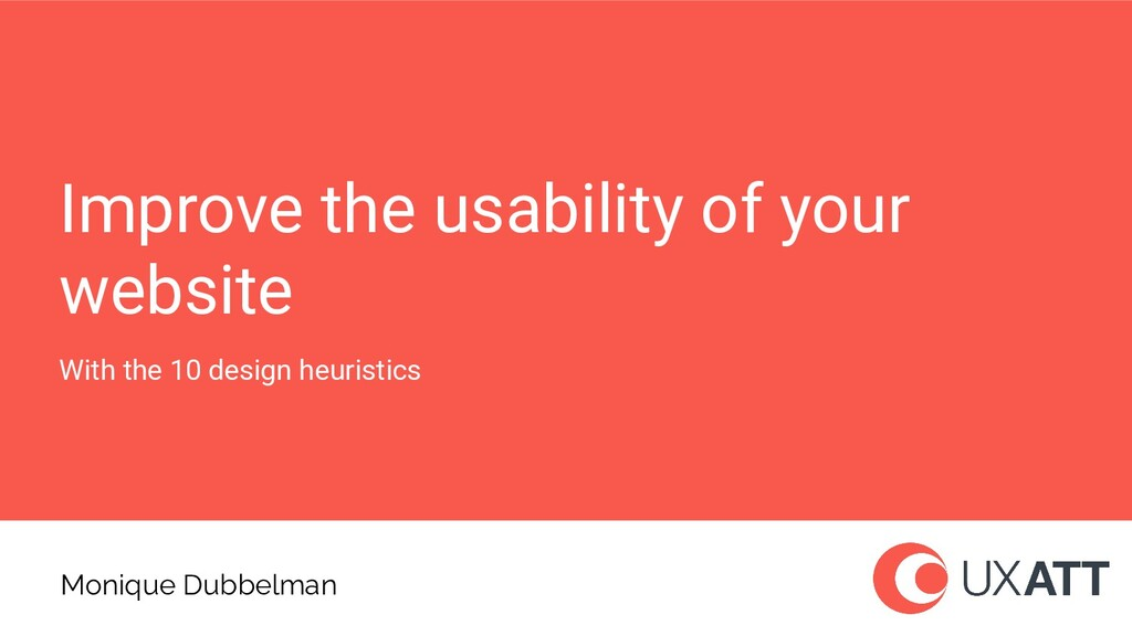 Improve the usability of your website With the ...