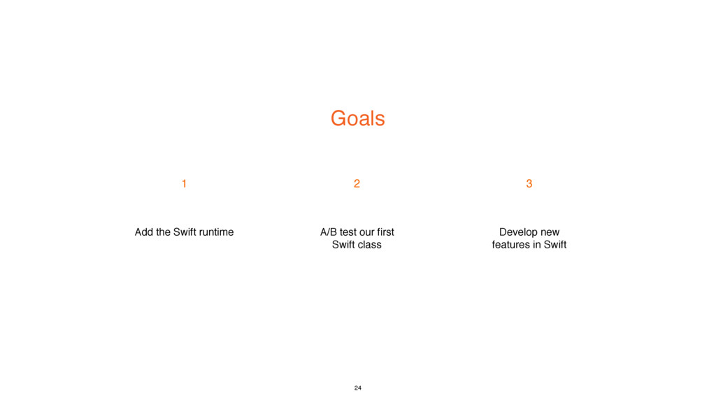 Goals 1 2 3 Add the Swift runtime A/B test our ...
