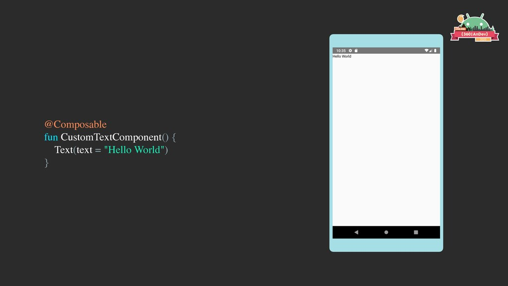 @Composable fun CustomTextComponent() { Text(te...