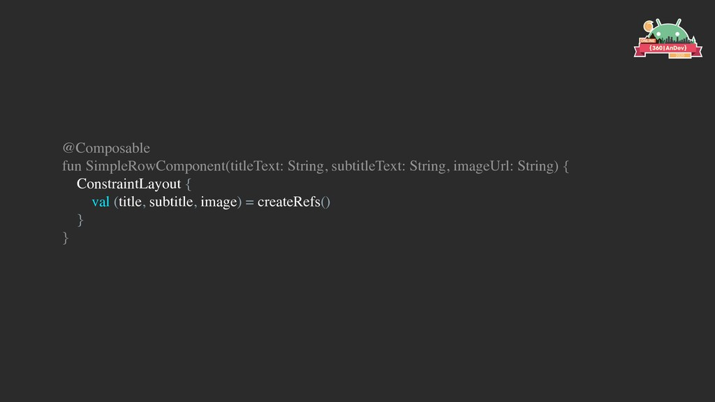 @Composable fun SimpleRowComponent(titleText: S...
