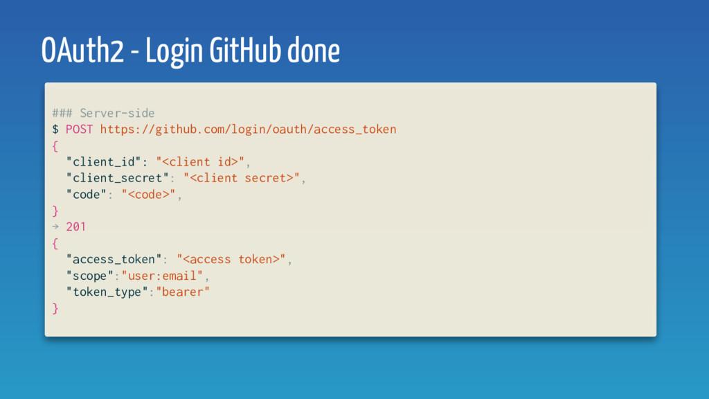 OAuth2 - Login GitHub done ### Server-side $ PO...