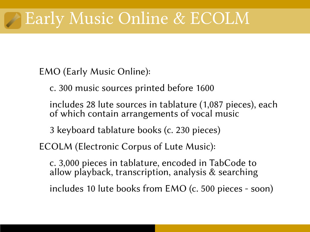 Early Music Online & ECOLM EMO (Early Music Onl...