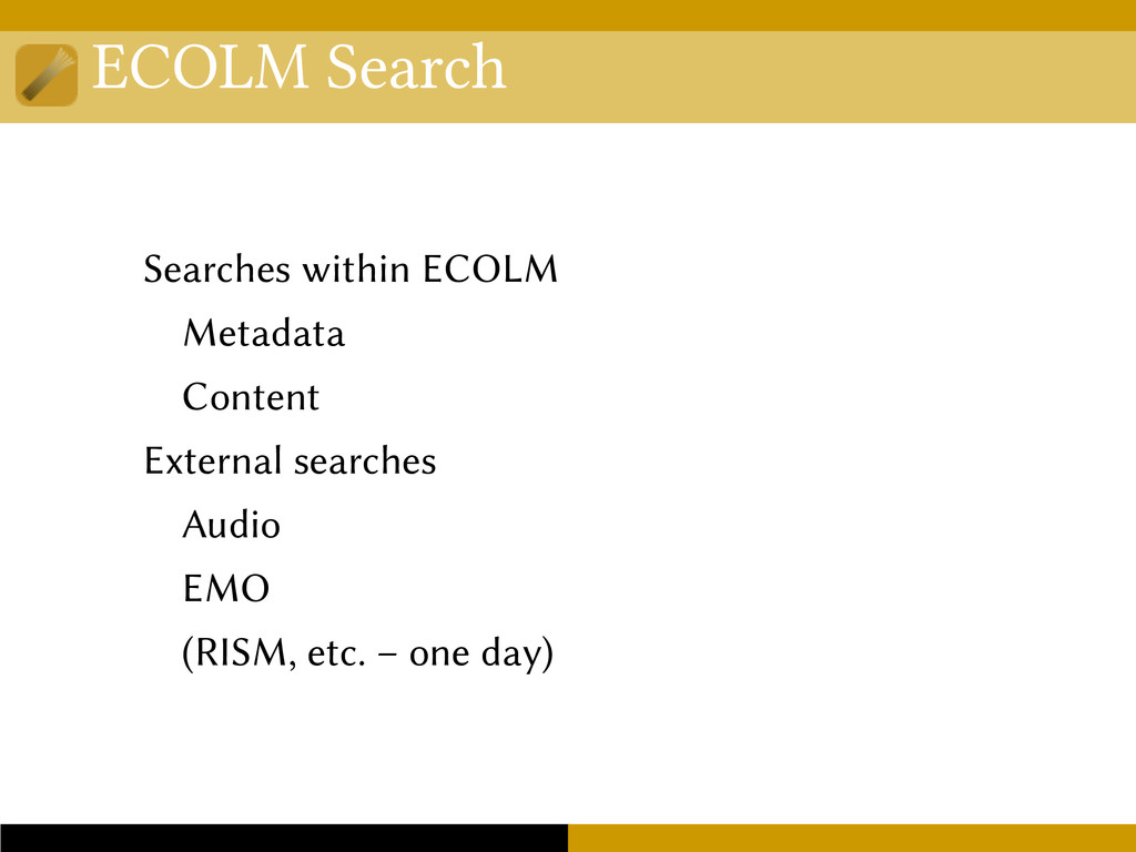 ECOLM Search Searches within ECOLM Metadata Con...