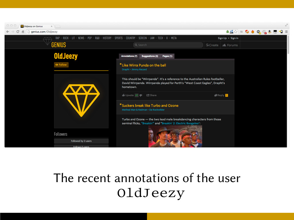 The recent annotations of the user OldJeezy