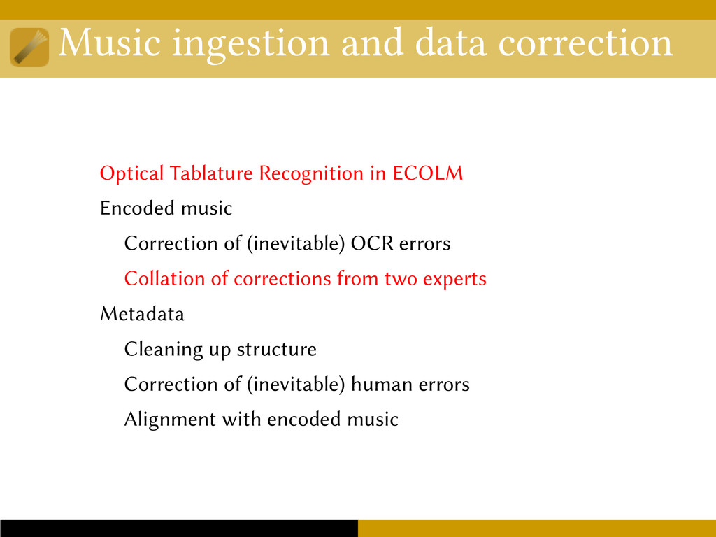 Music ingestion and data correction Optical Tab...