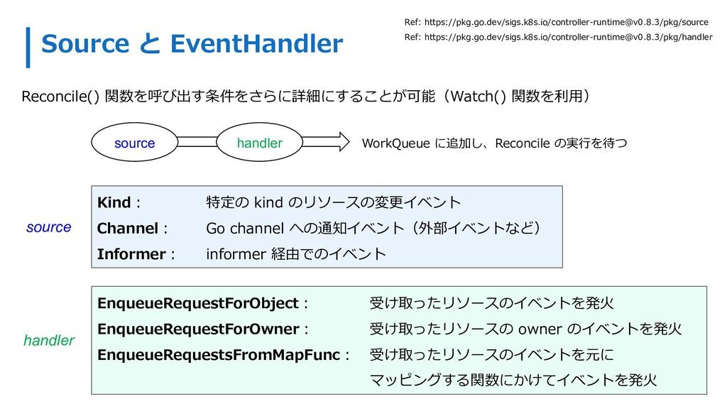 Source と EventHandler Reconcile() 関数を呼び出す条件をさらに...