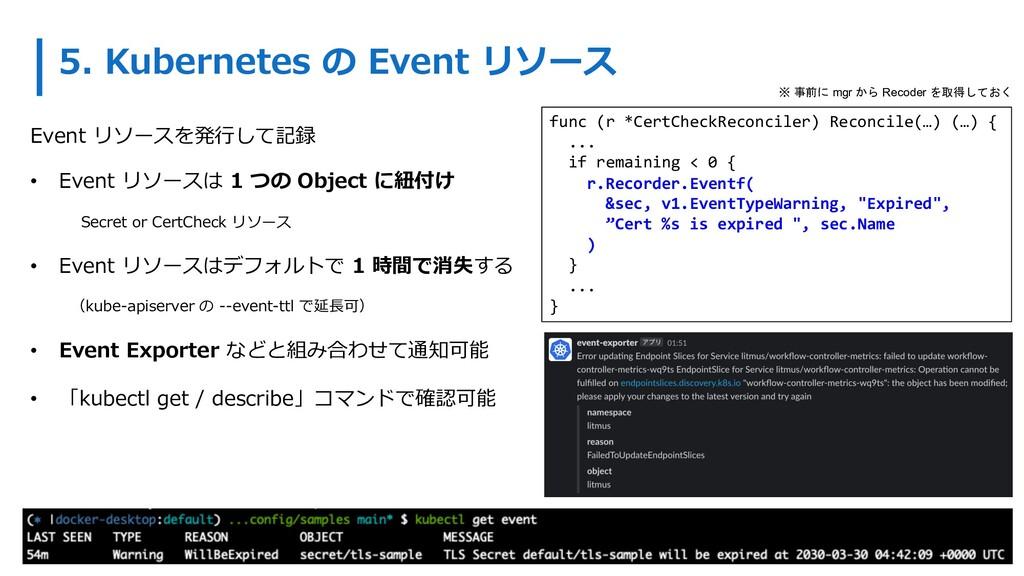 5. Kubernetes の Event リソース Event リソースを発⾏して記録 • ...