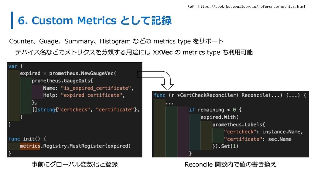 6. Custom Metrics として記録 Counter、Guage、Summary、H...