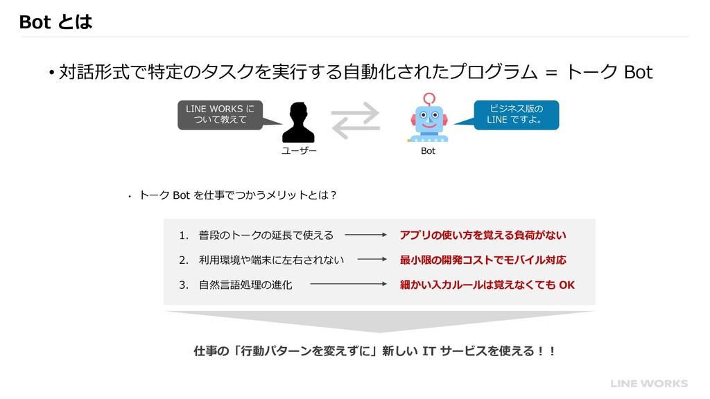 Bot とは • 対話形式で特定のタスクを実行する自動化されたプログラム = トーク Bot ...