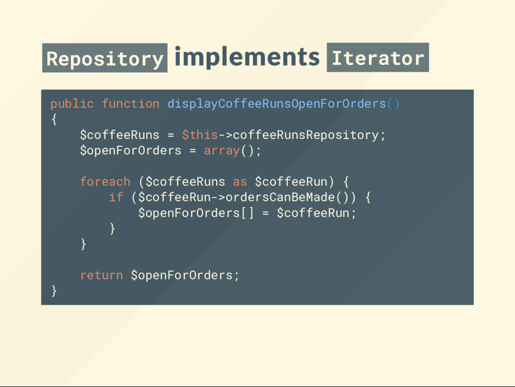 Repository implements Iterator public function ...