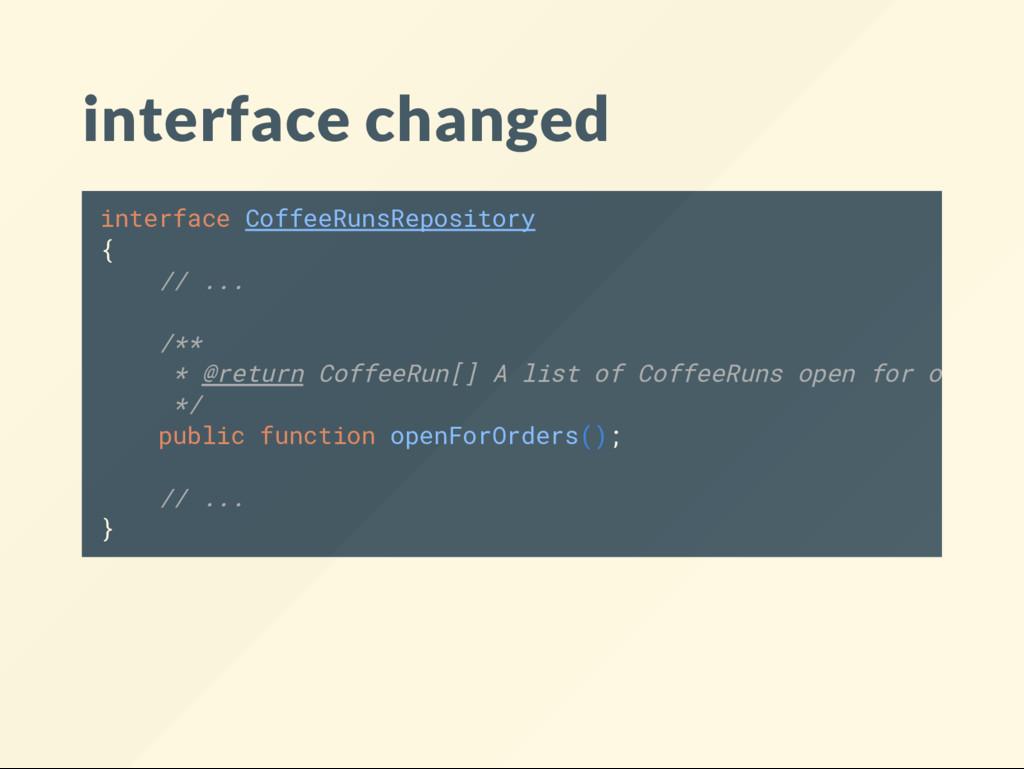 interface changed interface CoffeeRunsRepositor...