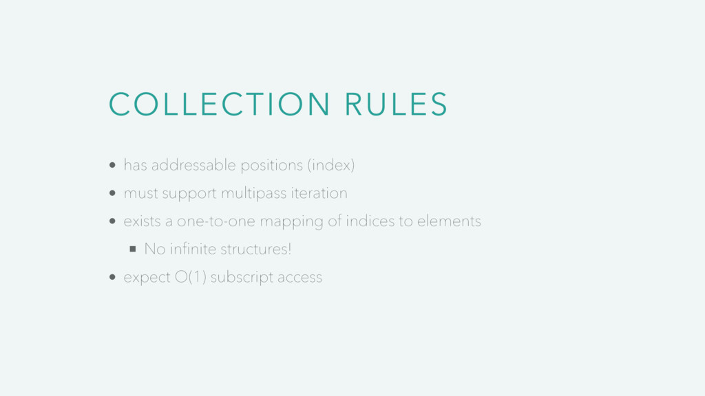 COLLECTION RULES has addressable positions (ind...