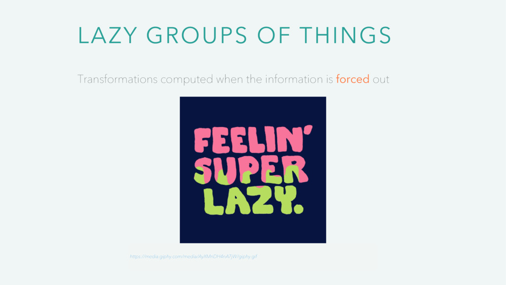 LAZY GROUPS OF THINGS Transformations computed ...