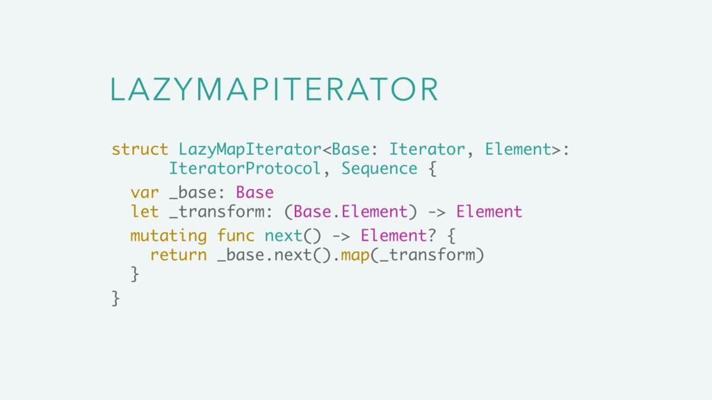 LAZYMAPITERATOR struct LazyMapIterator<Base: It...