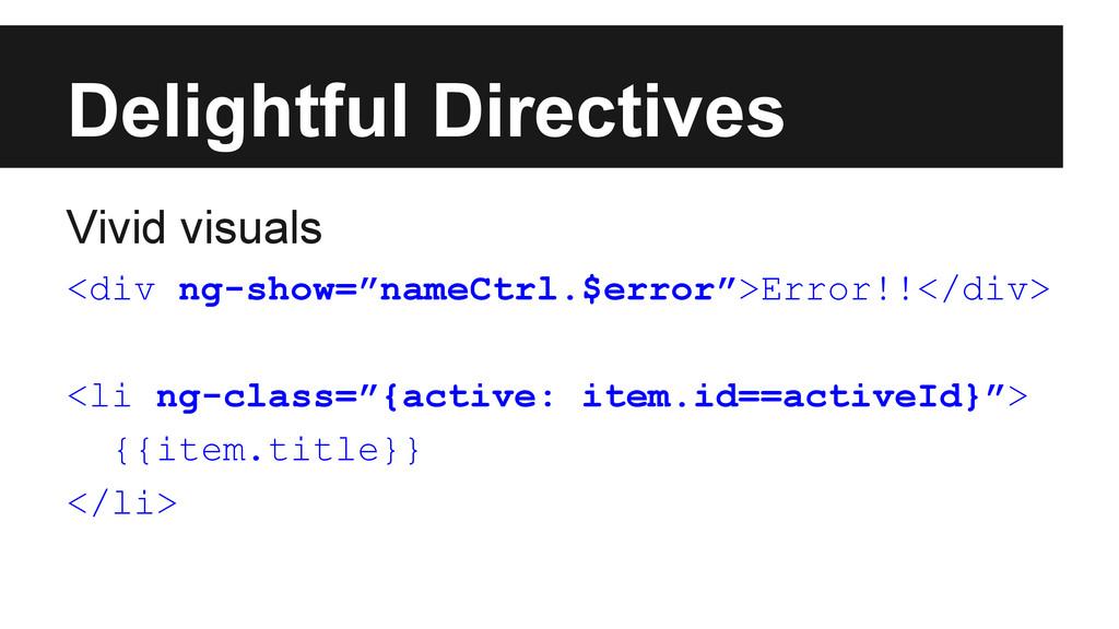 Delightful Directives Vivid visuals <div ng-sho...