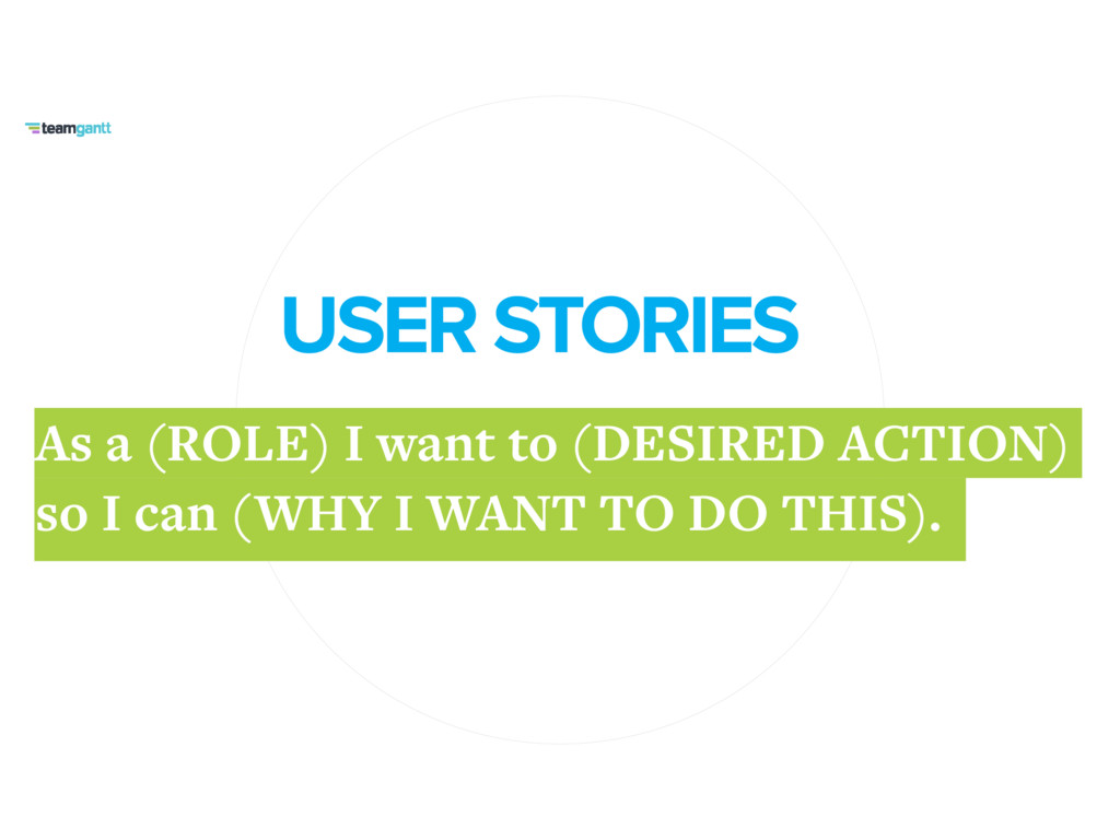 USER STORIES As a (ROLE) I want to (DESIRED ACT...