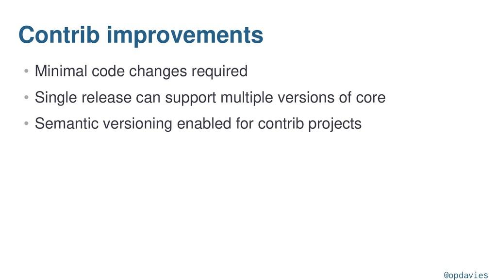 Contrib improvements • Minimal code changes req...