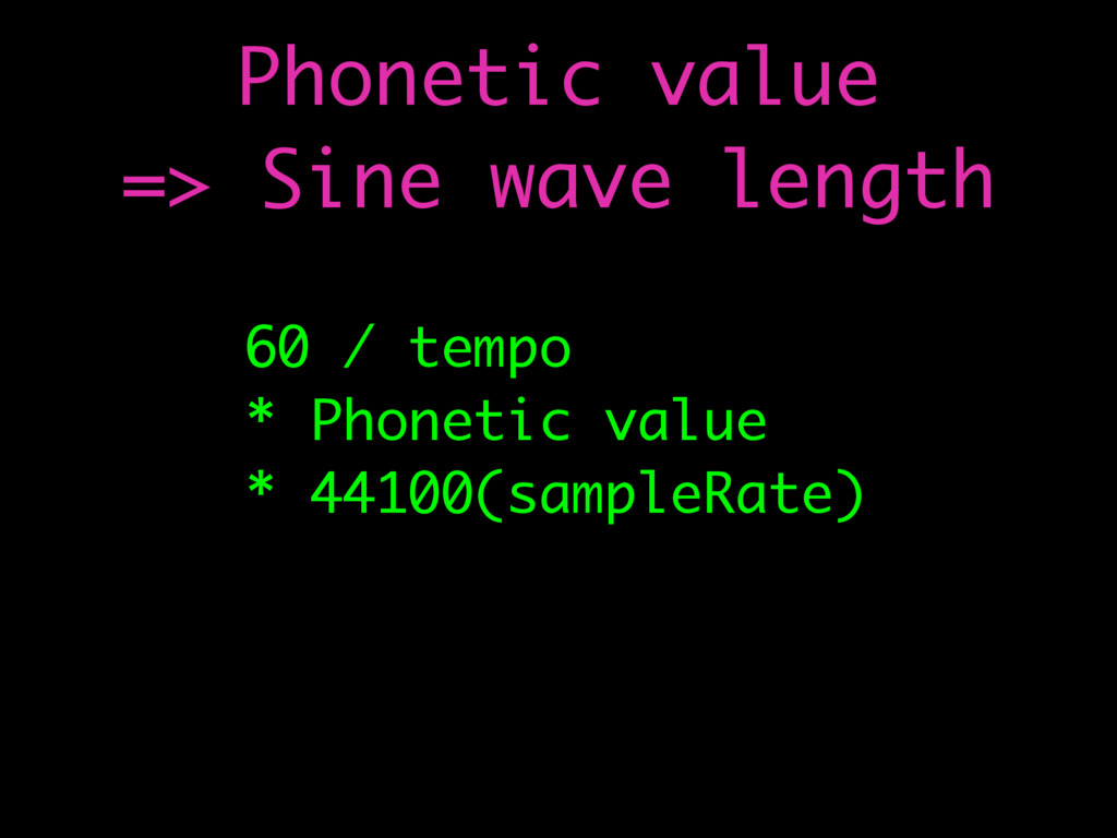 60 / tempo * Phonetic value * 44100(sampleRate)...