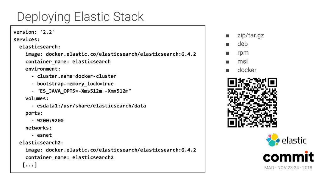 MAD · NOV 23-24 · 2018 Deploying Elastic Stack ...