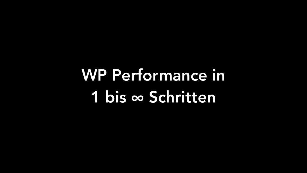 WP Performance in 1 bis ∞ Schritten
