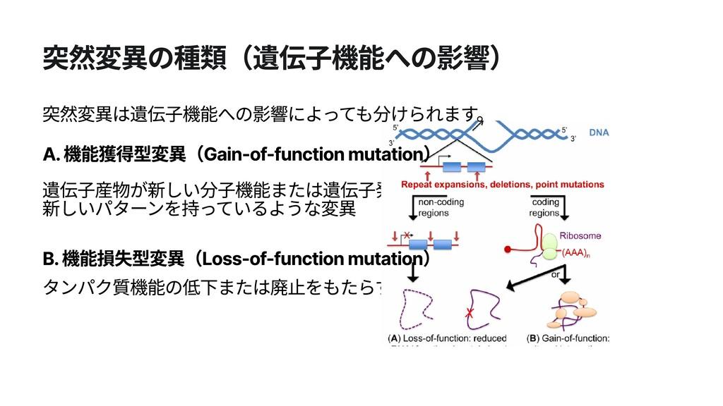 突然変異の種類(遺伝子機能への影響) 遺伝子産物が新しい分子機能または遺伝子発現の 新しいパタ...