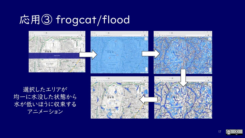 応用③ frogcat/flood 17 選択したエリアが 均一に水没した状態から 水が低いほ...