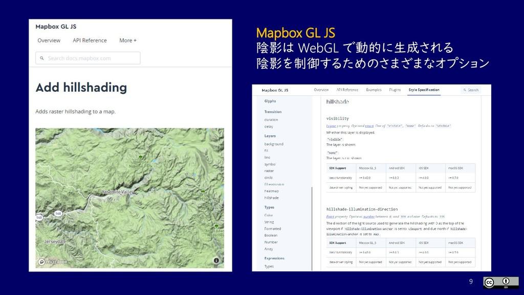 9 Mapbox GL JS 陰影は WebGL で動的に生成される 陰影を制御するためのさま...