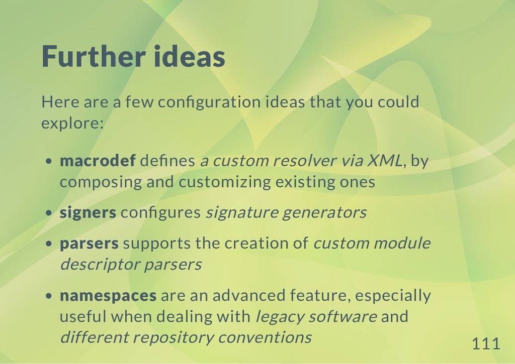 Further ideas Here are a few con guration ideas...