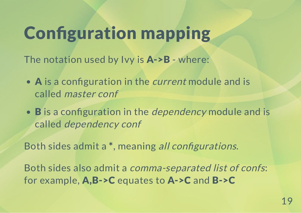 Con guration mapping The notation used by Ivy i...
