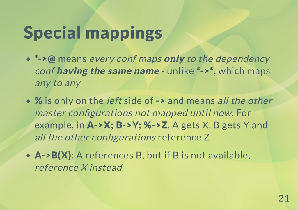 Special mappings *->@ means every conf maps onl...