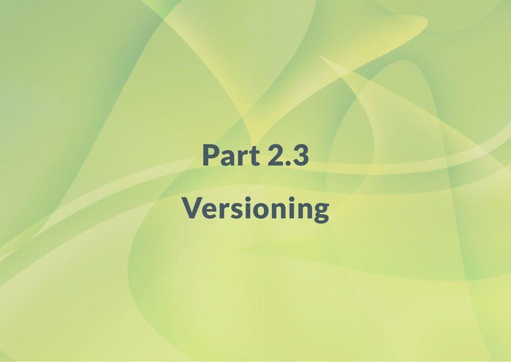 Part 2.3 Versioning