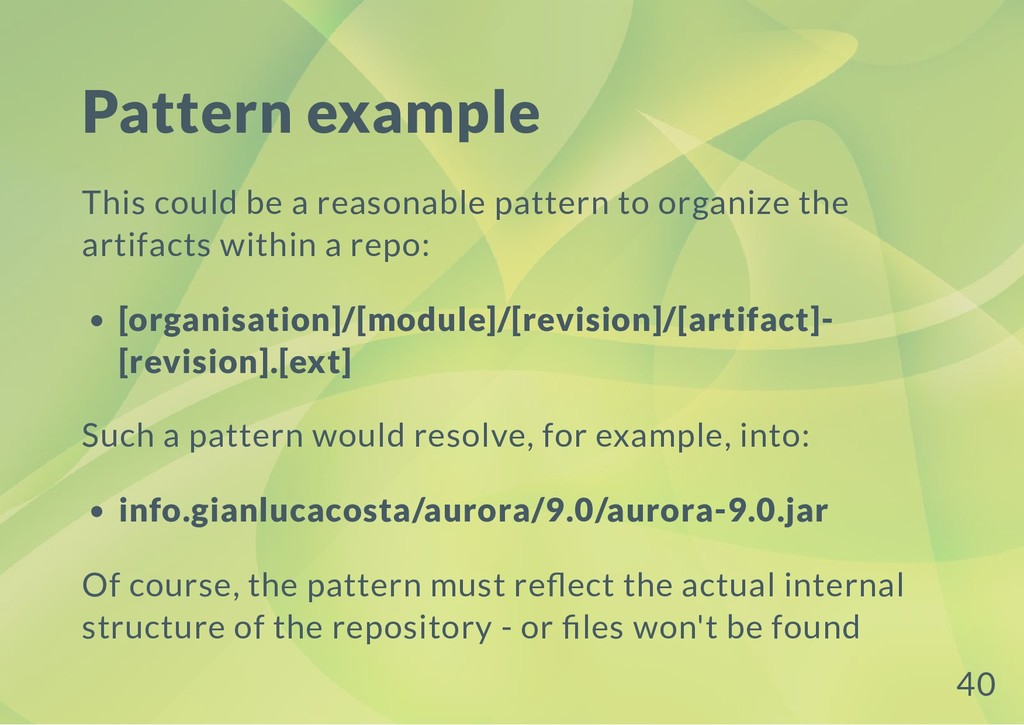Pattern example This could be a reasonable patt...