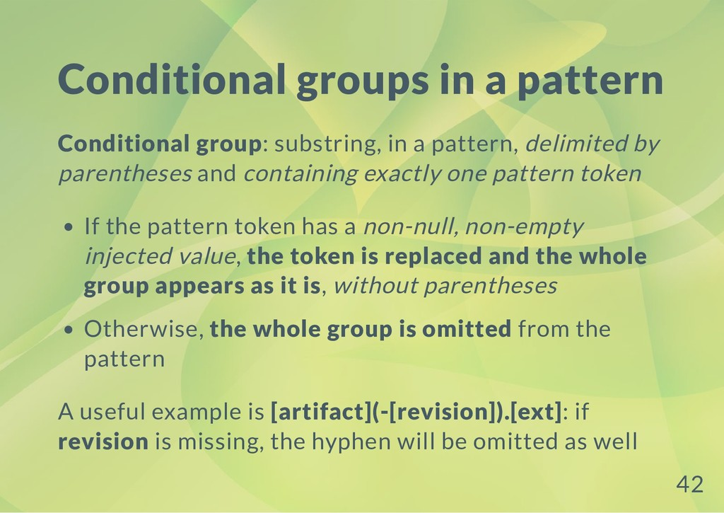 Conditional groups in a pattern Conditional gro...