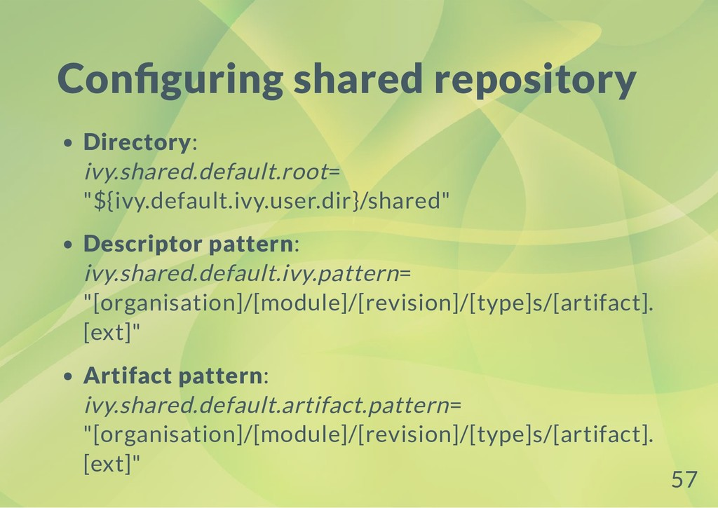 Con guring shared repository Directory: ivy.sha...